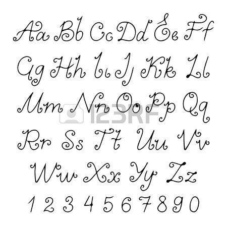 Set alphabet calligraphic - vector