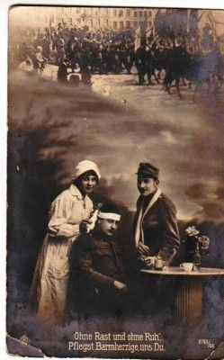 WW1 SOLDIER NURSE WOUNDED