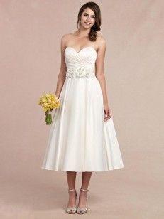 Aライン/プリンセス 恋人 袖なしの ルーシュ 茶長さ サテン ウエディングドレス