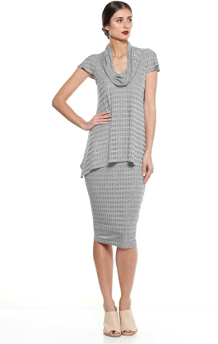 SABIA JERSEY COWL NECK TOP AND SKIRT TWO PIECE SET IN SILVER MARLE