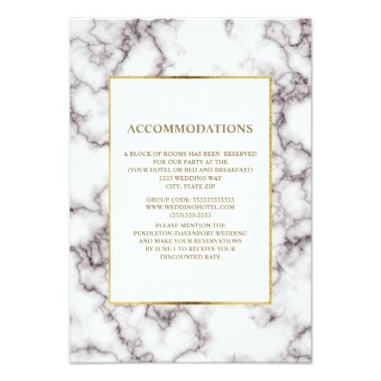 Elegant White and Gray Marble Accommodations Card - personalize design idea new special custom diy or cyo