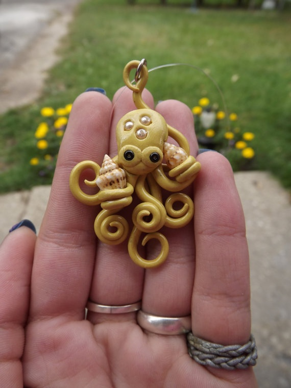 Polymer Clay Octopus Pendant Holding Seashells by smr2892 #inspiration Could use beads, pearls, or gemstone crystals