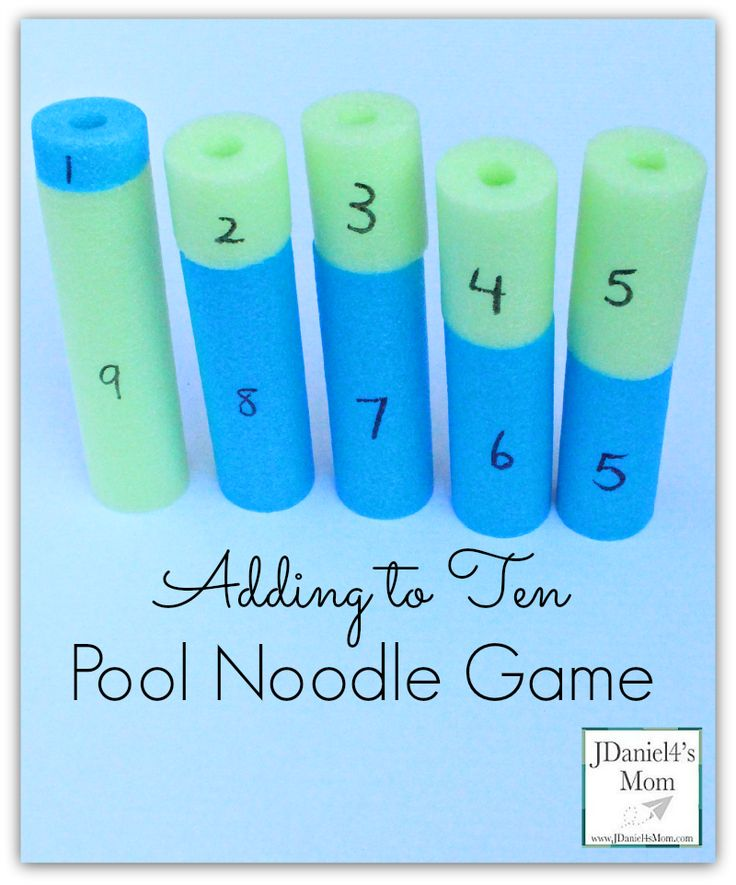 Adding to Ten Pool Noodle Game. Awesome visual for seeing different combinations that make ten.