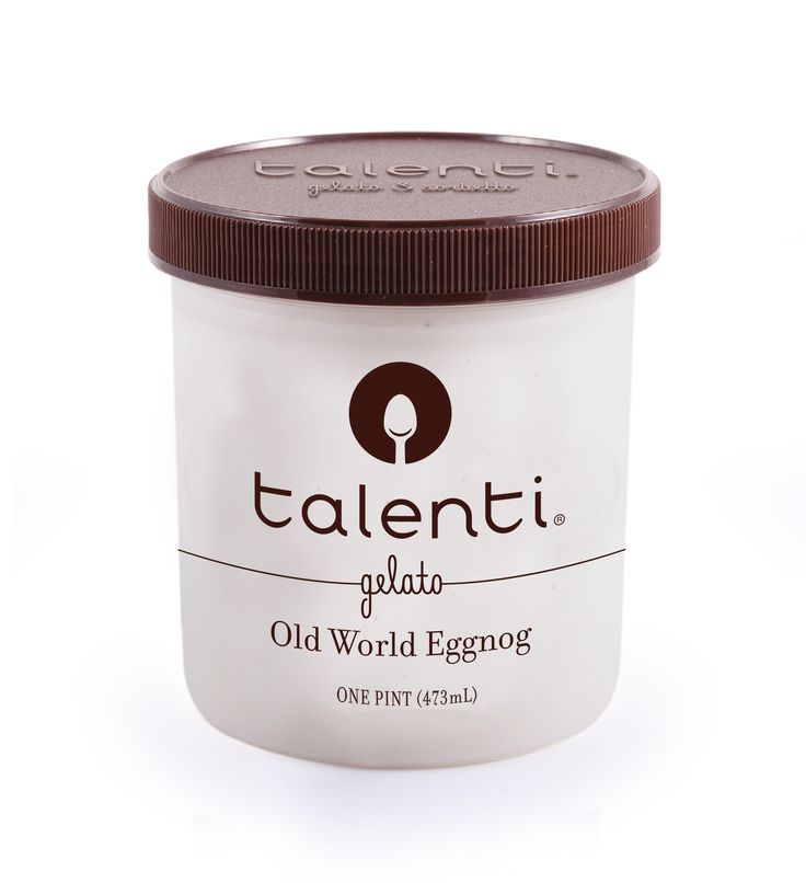 "Talenti Old World Eggnog gelato.  Our Old World Eggnog gelato is made with fresh milk, sugar, cream, egg yolks, pure vanilla extract and nutmeg–a recipe so traditional, we can't tell you how hard it was to keep the ""e"" off of ""Old."""