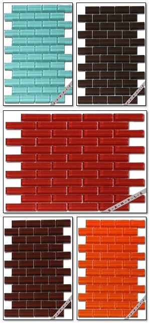 Brand: Mirage Glass. Collection: Crystile 1x3 Colors: Orange, Blue, Brown, Red. Finishes: Glass. Material: Glass. Rooms: Bathroom, Hall Way, Kitchen. Sizes: 12 x 12. Type: Wall Tile. Where: any.   http://www.tile-stone-stores.com/brands/mirage-glass-tiles-b-163/crystile-1x3-t-45/