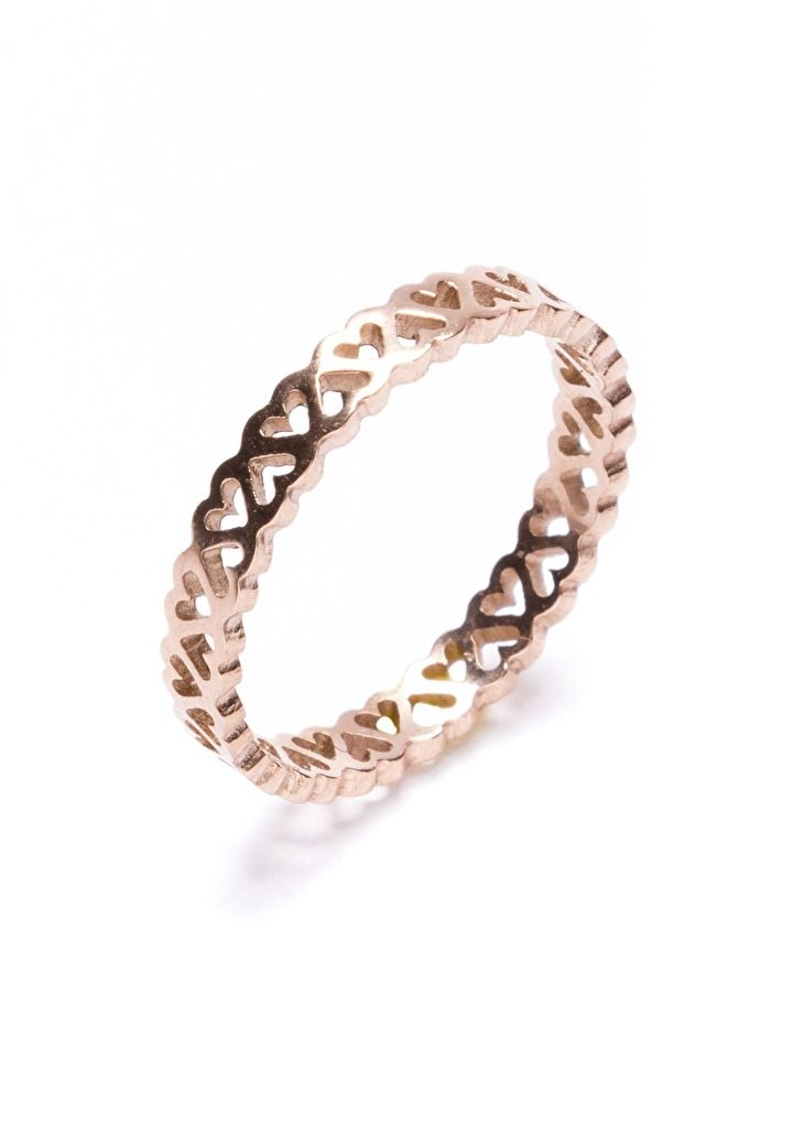 A rose gold band of cutout hearts that is great to wear everyday. A super cute piece for the lover in us all. Be sure to check out the Glittering Heart Gold Bracelet with Clasp at Back and the Lover's Gift Ring in Silver.