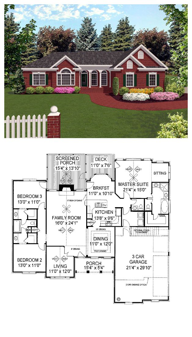 European House Plan 92421 | Total living area: 1992 sq ft, 3 bedrooms & 2.5 bathrooms. The Kitchen unites a cozy Breakfast Nook and a Dining Room with a tray ceiling. #houseplan #european