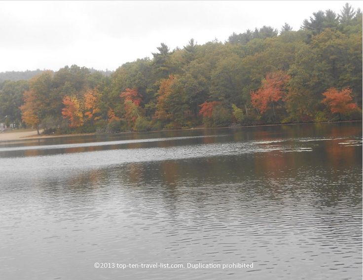 Beautiful #fall colors at Houghton's Pond in #Milton, Massachusetts.