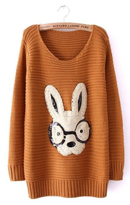 Sewing Idea - Funny Rabbit! - www.SheInside.com - Shown: Khaki Long Sleeve Rabbit Embellished Pullovers Sweater $33.39 (Cheap! ! !)