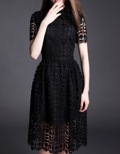 Designer Midi Short Sleeve Boat Neck Work Dresses Black