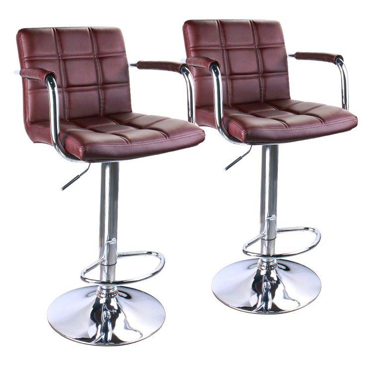 Leopard Square Back Adjustable Bar Stools with armrest,Swivel Bar Stool Set of 2,Brown