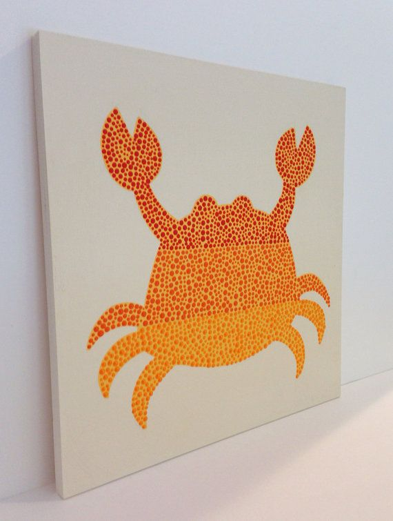 Hand painted Nautical Crab Wall Art Orange Wall by SweetBananasArt, $45.00