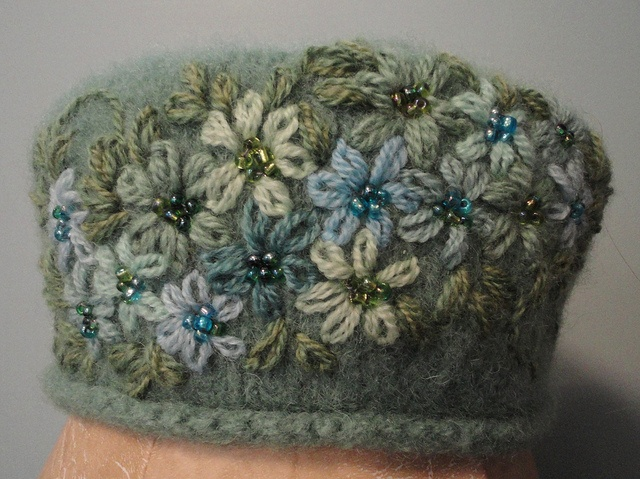 Tipsy Tatum Hat; knitted, fulled and embellished.  www.LisaCruse.com