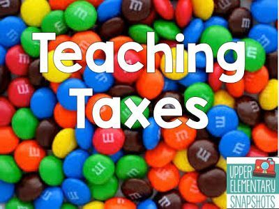 Use M&M's to teach taxes! Read about this and MORE great ideas to incorporate into your social studies lessons.  Very engaging and hands on for students in special education classrooms in elementary, middle and high school.  Read more (you won't be sorry!) at:  http://www.upperelementarysnapshots.com/2015/08/top-15-edible-lessons.html