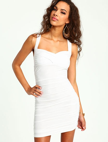LOVE CULTURE-White Sweetheart Ruched Dress