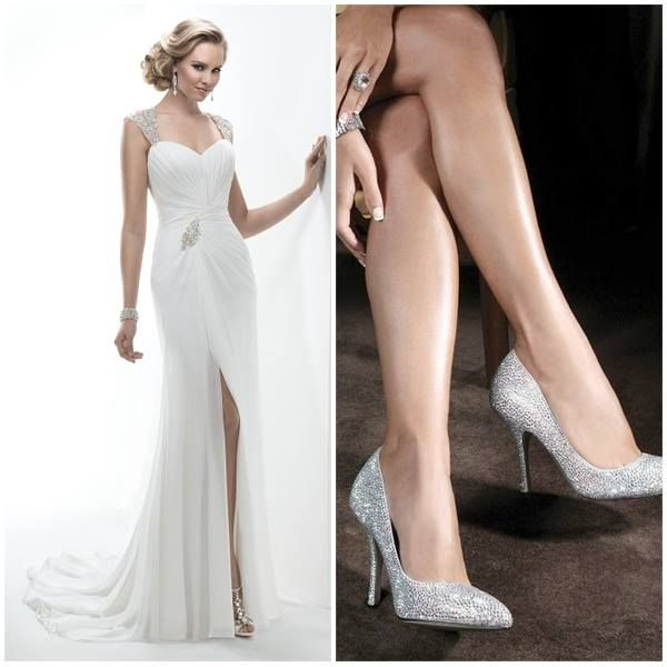 Maggie Sottero dress with sparkly heels www.honeymoonshop.nl