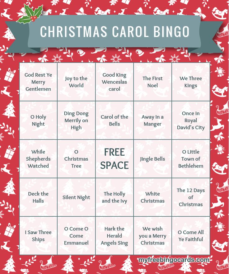 Christmas Carols Bingo - ready to print for free right away!                                                                                                                                                                                 More