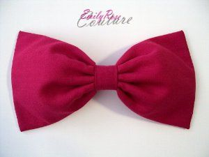 "Solid Pink Jewel Tone Essential's Hair Bow Barrette by EmilyRose Couture. $5.95. 100% handmade in the USA. Every girl needs those essentials in her wardrobe, and having a few solid color hair bows is definitely one of them! This pretty pink hair bow is a new part of EmilyRose Couture's Jewel Tone Essentials Collection! This bow is attached to a barrette clip and measures 5"" X 2.75"". This hair bow is 100% handmade from scratch, with new, quality materials by an experienced fashion..."