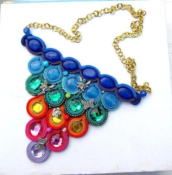 Modern Soutache Bib Necklace Rainbow Colorful por IncrediblesTN