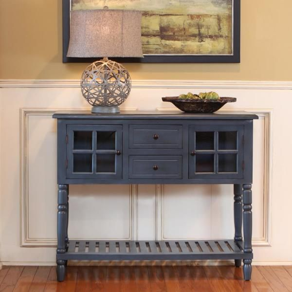 Decor Therapy Morgan Navy 2 Door Console Table Fr8443 The Home Depot In 2020 Decor Therapy Blue Console Table Wood Console Table