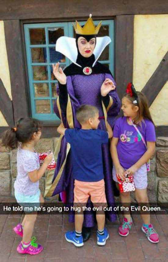 Funny Snapchats ~ hugging the evil out of the queen, disney