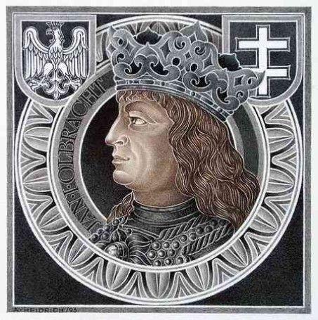 Jan I Olbracht 1459 - 1501, król Polski od 23 września 1492 do 17 czerwca 1501. Nie ożenił się, ani nie zostawił po sobie żadnego potomka. Po śmierci króla Jana Olbrachta tron po nim przejął jego młodszy brat, Aleksander (panował 1501-1506).