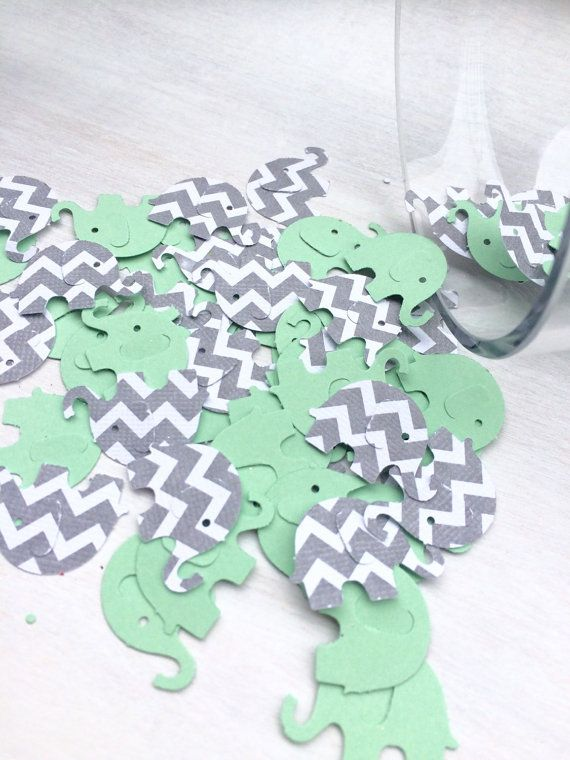 Mint green and gray chevron and solid elephant by ConfettiGirls