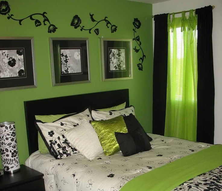 black and green bedroom decor