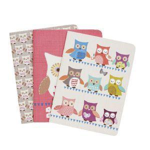 Go Stationery Pocket Notebooks Owls 3 Pack