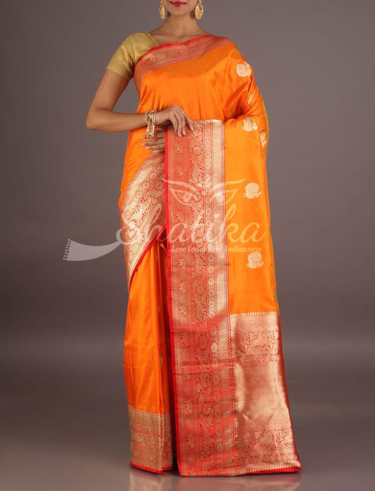 Dharini Fiery Orange Heavy Ornate Border Pallu Banarasi Silk Saree
