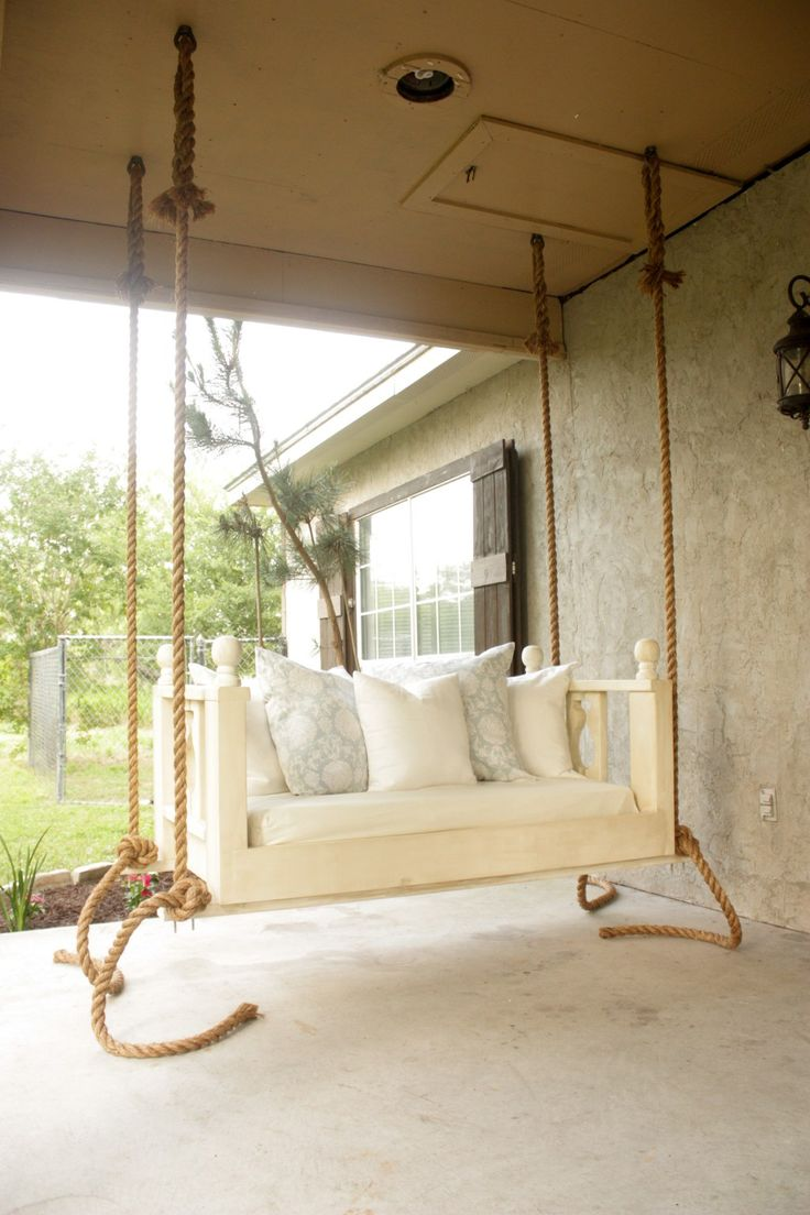 diy porch bed swing free plans just in time for summer. Black Bedroom Furniture Sets. Home Design Ideas