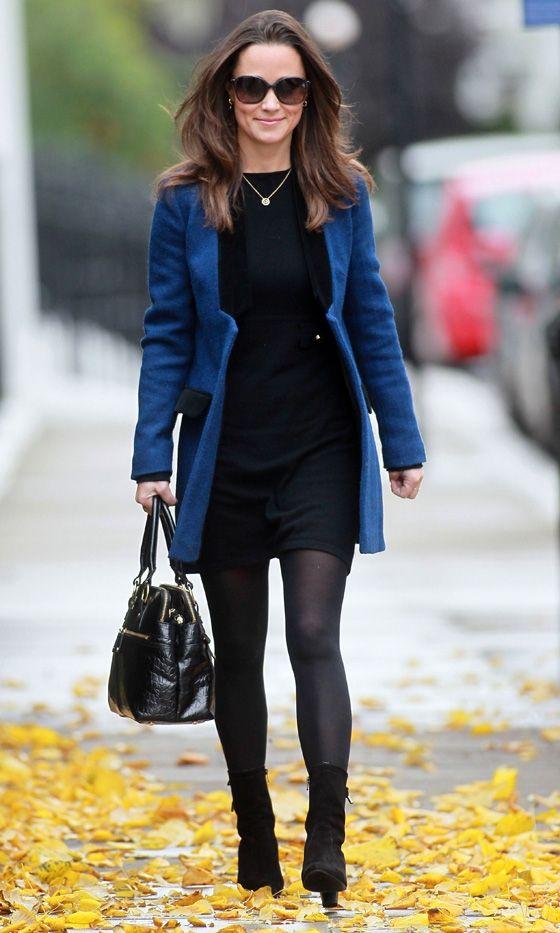 Pippa Middleton wore a blue Sara Berman velvet trim jacket over an LBD.  #PippaMiddleton:
