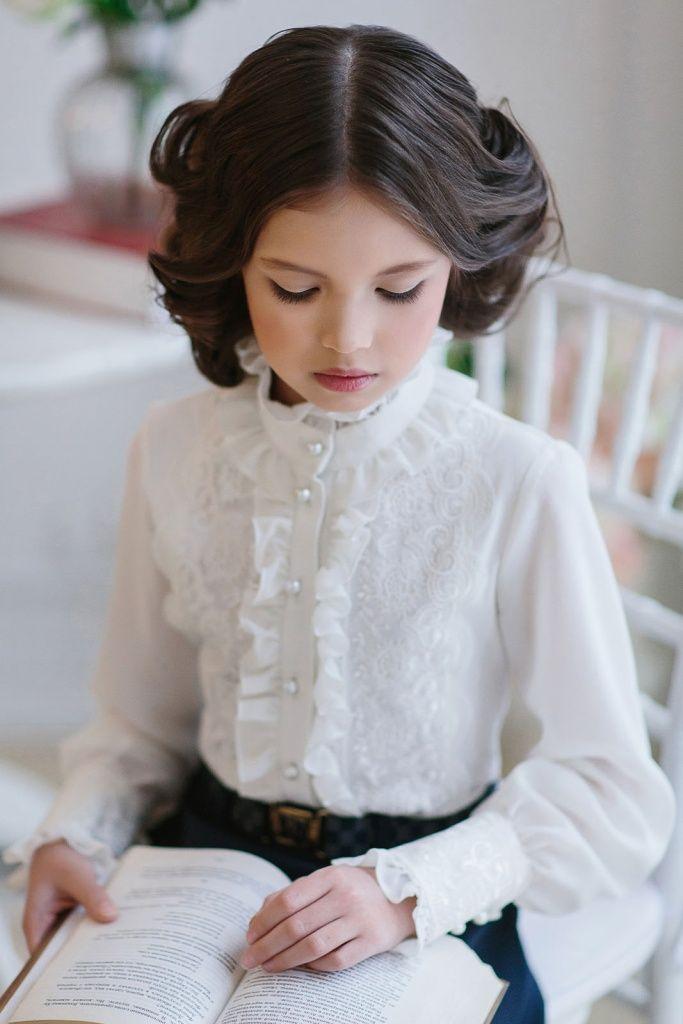 Нарядная блузка для девочки арт.163632 Молочный