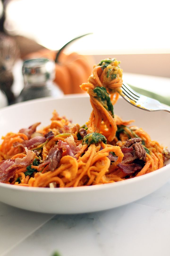 Butternut Squash Sweet Potato Noodles with Bacon, Pecans and Spinach. Sweet Potato PastaPaleo Sweet PotatoRecipes ...