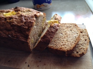 Amazing gluten free banana bread! Made with honey and brown rice flour