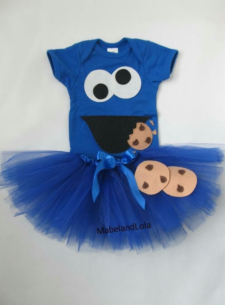 Cookie Monster Themed 1st Birthday Party Outfit Girls Tutu Costume size 12-18 mo #Handmade #Everyday