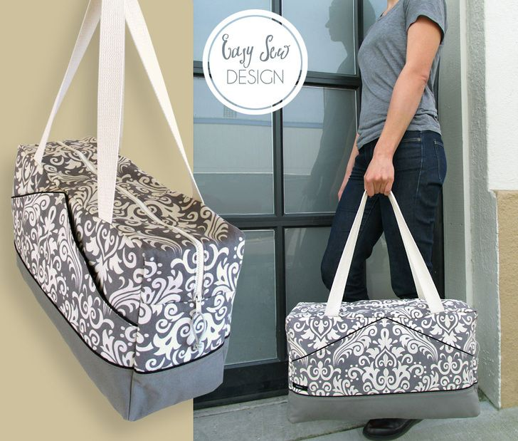 Stylin' Damask & Canvas Duffle: Fabric Depot | Sew4Home