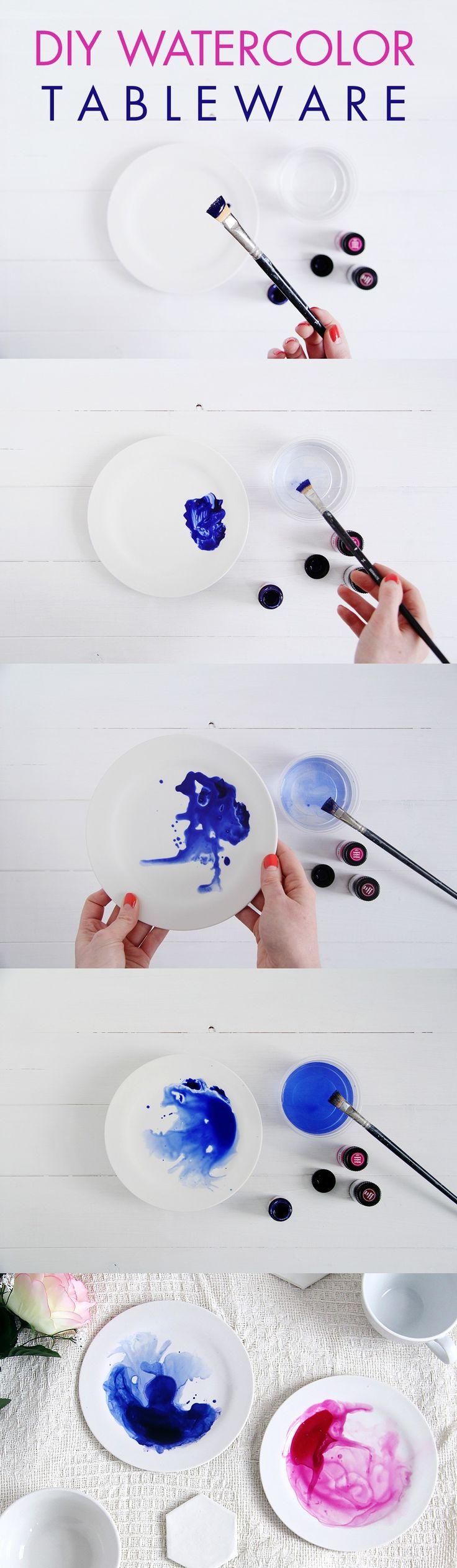 DIY: Watercolor Tableware