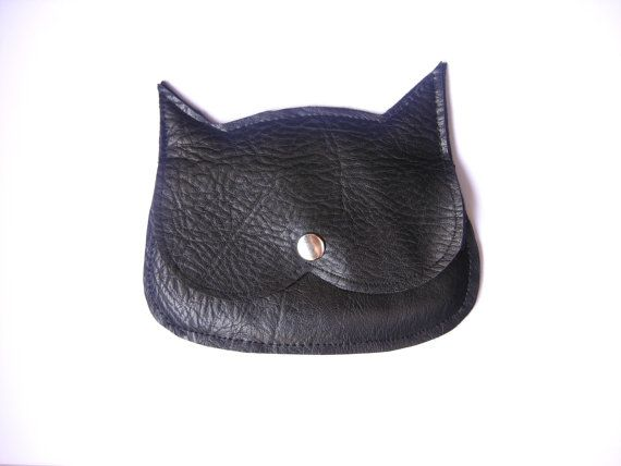 Black Laether  Cat coin purse, mini pouch, made to order on Etsy, £21.39