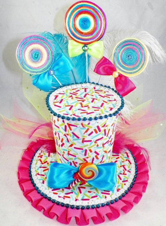 Lollipops and Candy Sprinkles Sweet Treat Mini Top Hat Halloween Party Pageant Costume Tea Party Burlesque