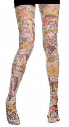 Pop Art Comic Strip Patterned Tights - Vintage clothing from Rokit. If these tights aren't for sale, why are they still on the website? Oh well, at least there's lots of other cool tights on there.