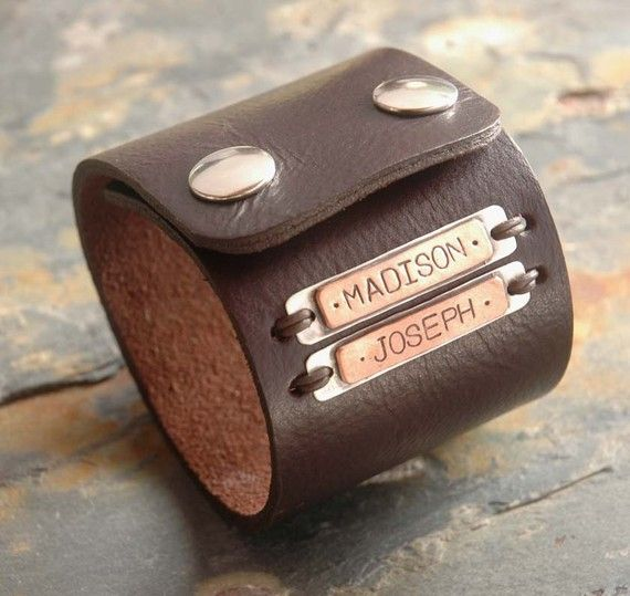 Custom Leather Bracelet  an industiral leather cuff by sophiapip, $65.00  @Madison Luebbe
