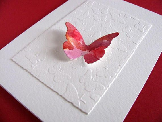 Watercoloured Butterfly on Embossed Butterfly Panel on Creamy handmade by aboundingtreasures on etsy.ca