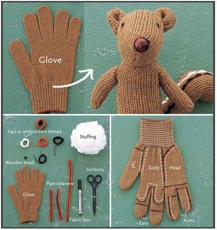 Glove to teddy bear.
