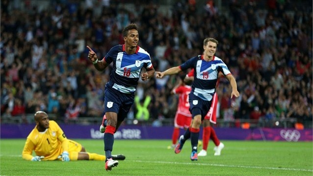 Team GB celebrates goal against the United Arab Emirates  Scott Sinclair of Great Britain celebrates scoring a goal during the men's Football first round match between Great Britain and United Arab Emirates on Day 2.