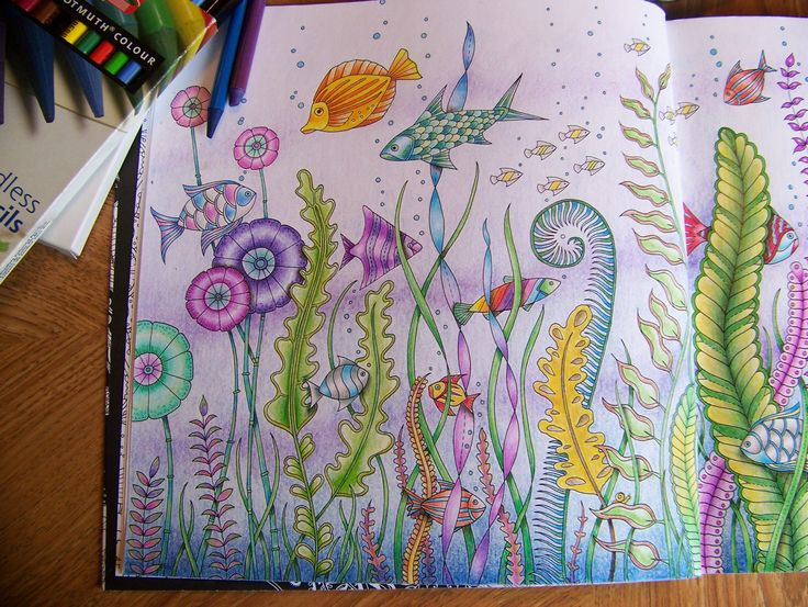 Adult Coloring Book Lost Ocean Johanna Basford Underwater Fish First Page