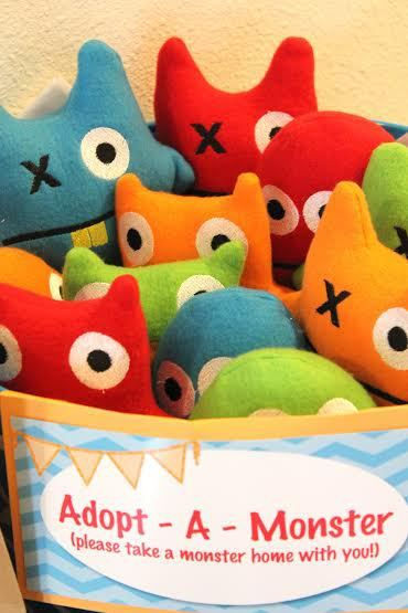 """Adopt a monster""...change to ""charter a boat"" for nautical theme! - make it adopt a Whale with little Whales and sharks"