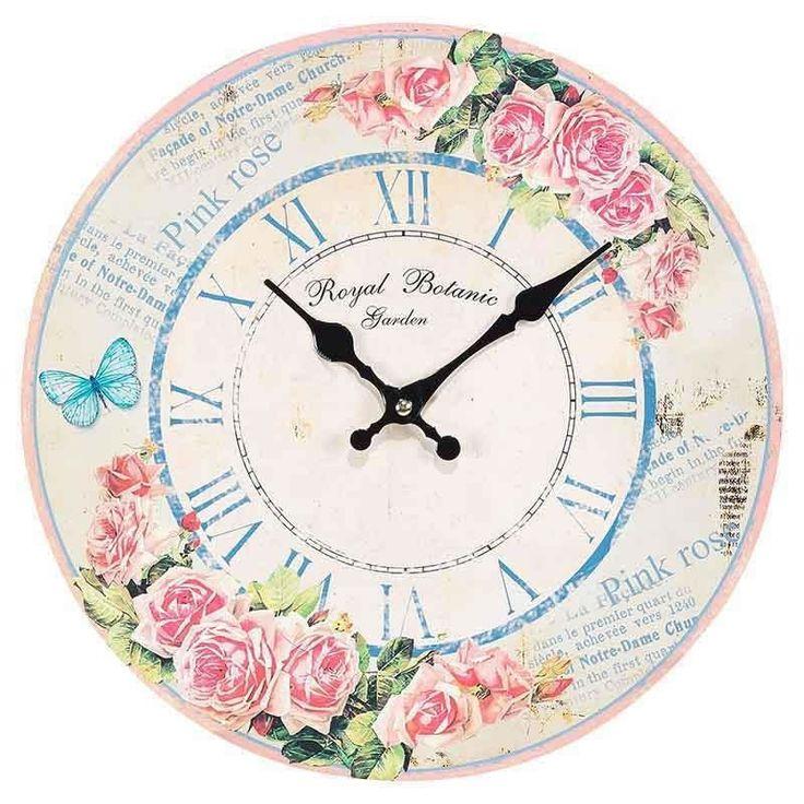Ρολόι τοίχου MDF τριαντάφυλλα. Διάμετρος: 34cm.