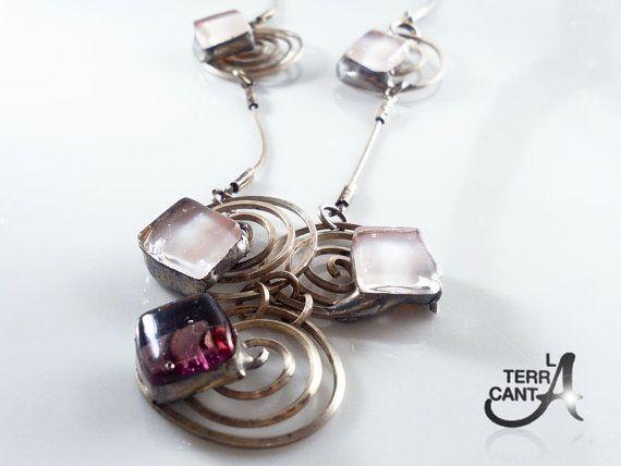 Gioiello in vetro fuso viola argento 925 collana di LaTerraCanta NEW NEW NEW!!!! RENEW!!!