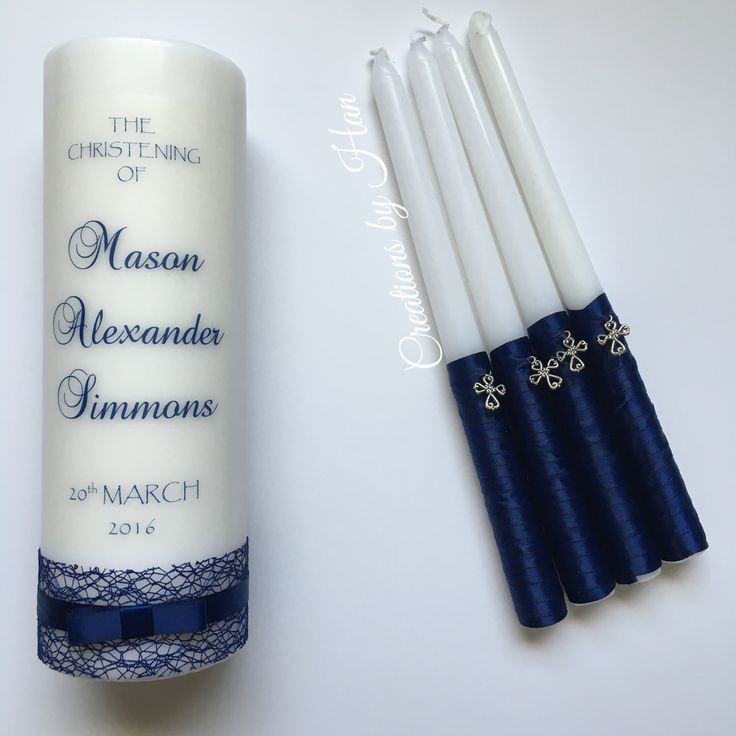 Baptism Candle Set In Navy Blue Baptisms And